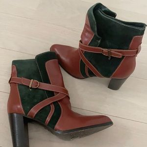 Fratelli Rossetti green suede/cognac boots 37